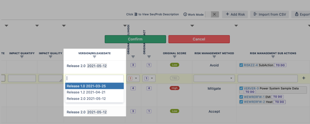 Link your software version with your risks in SoftComply Risk Manager