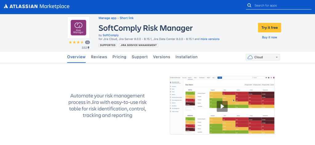 SoftComply Risk Manager on Jira Cloud
